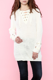 settle down Lace Up Knit Sweater - Product Mini Image
