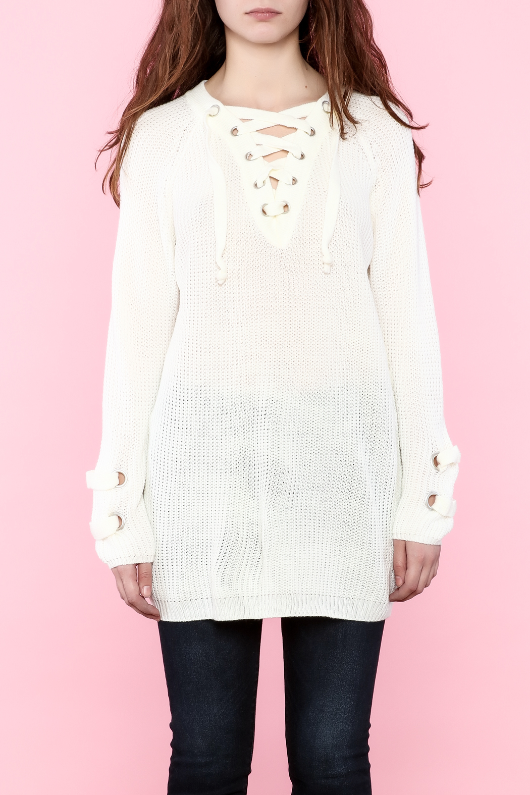 94c1f796ec settle down Lace Up Knit Sweater from New York by Dor L Dor — Shoptiques