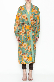 settle down Mint Floral Kimono - Front full body