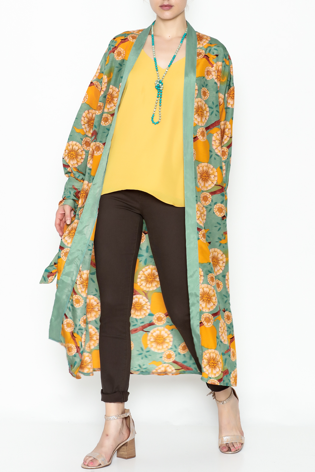 settle down Mint Floral Kimono - Front Cropped Image