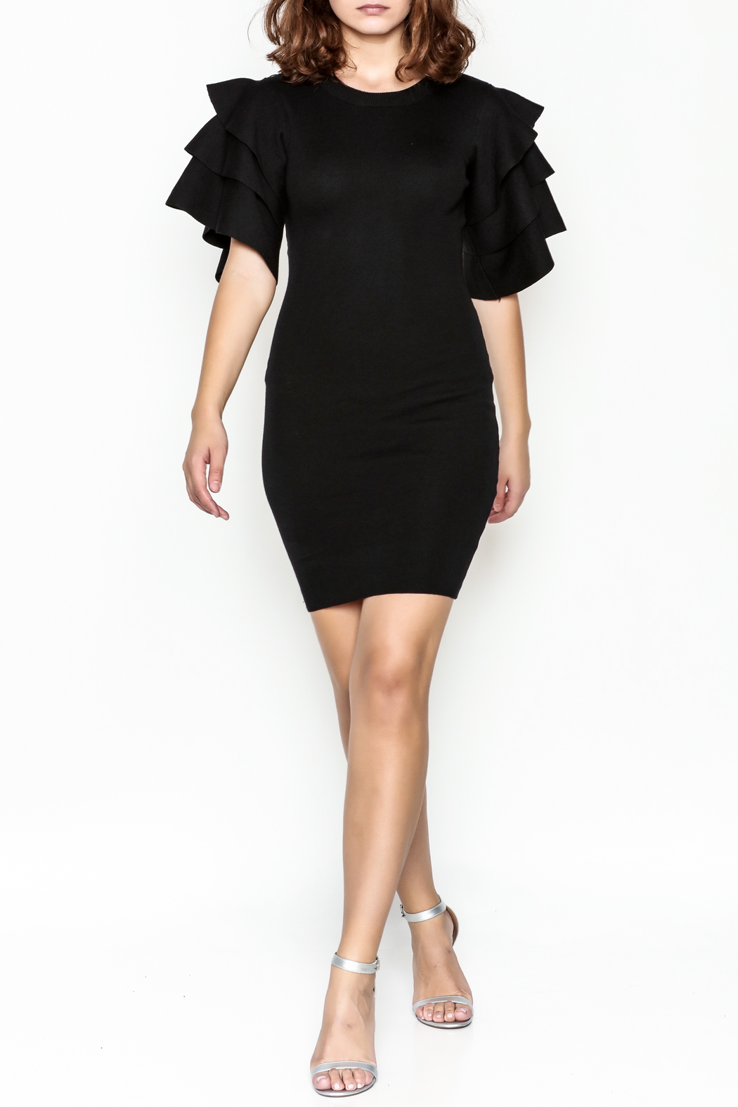 settle down Ruffle Sleeve Dress - Side Cropped Image
