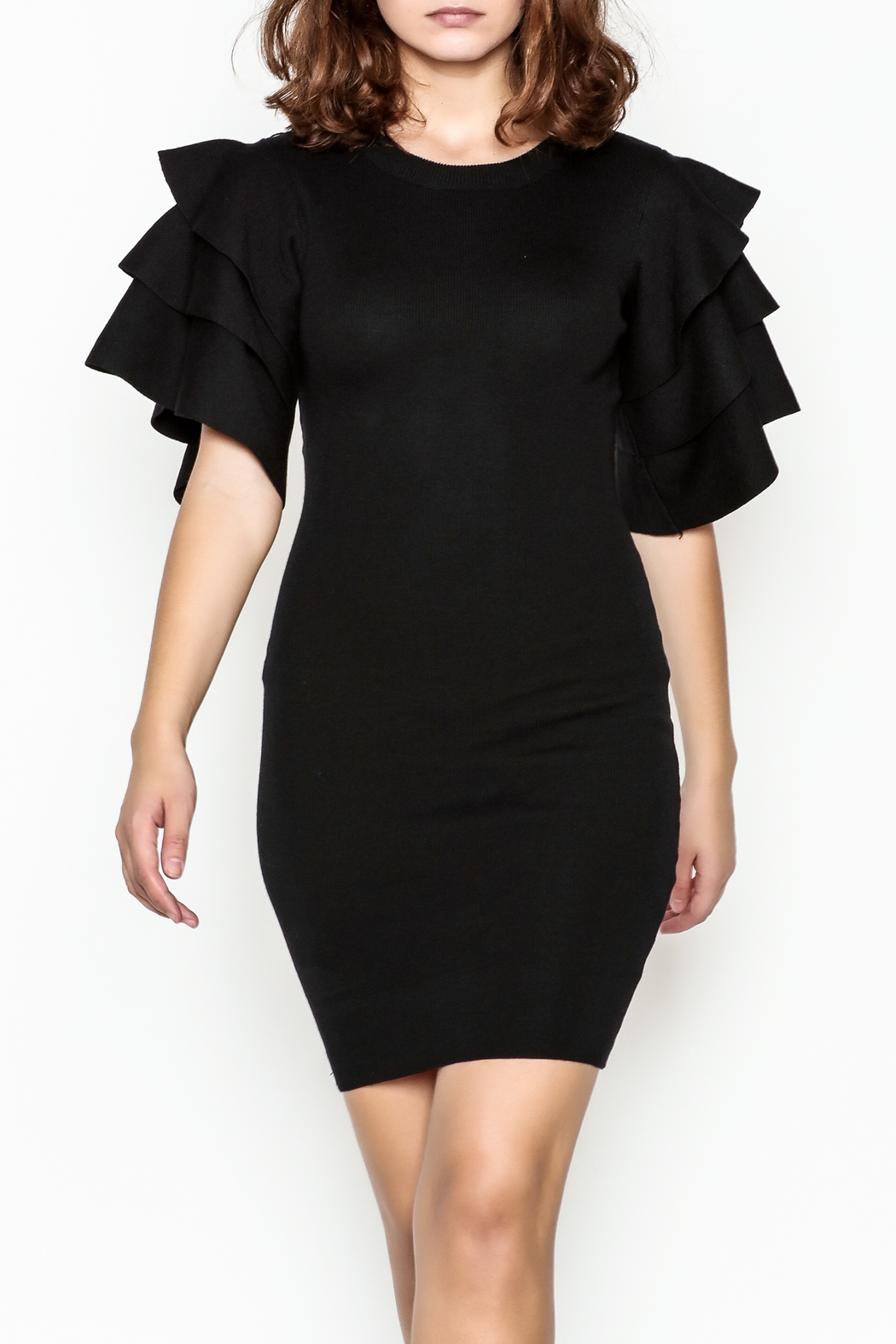 settle down Ruffle Sleeve Dress - Front Cropped Image
