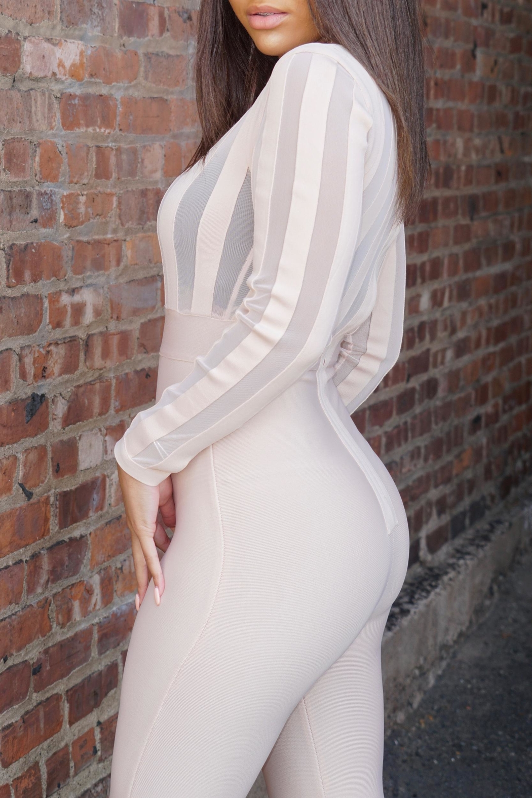 settle down Blush Bandage Jumpsuit - Front Full Image