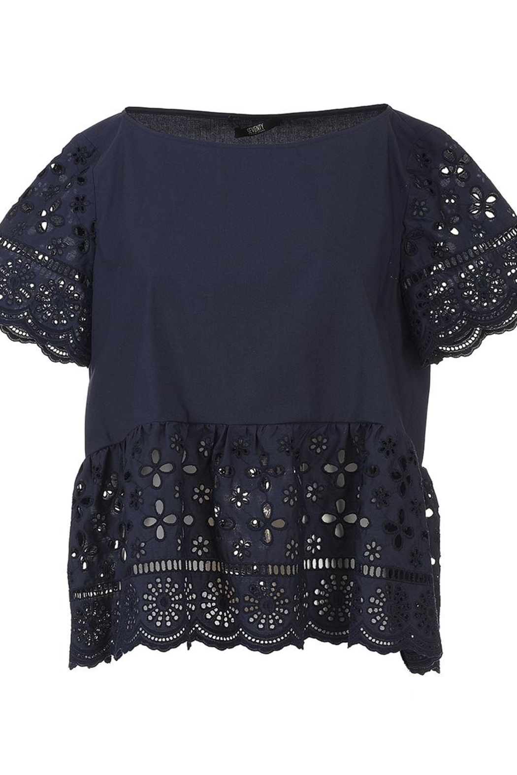 Seventy Cotton Navy Top - Side Cropped Image