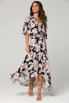 Band Of Gypsies Seville Pink Floral Ruffle Wrap Maxi Skirt - Product List Image
