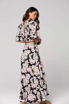 Band Of Gypsies Seville Pink Floral Ruffle Wrap Maxi Skirt - Alternate List Image