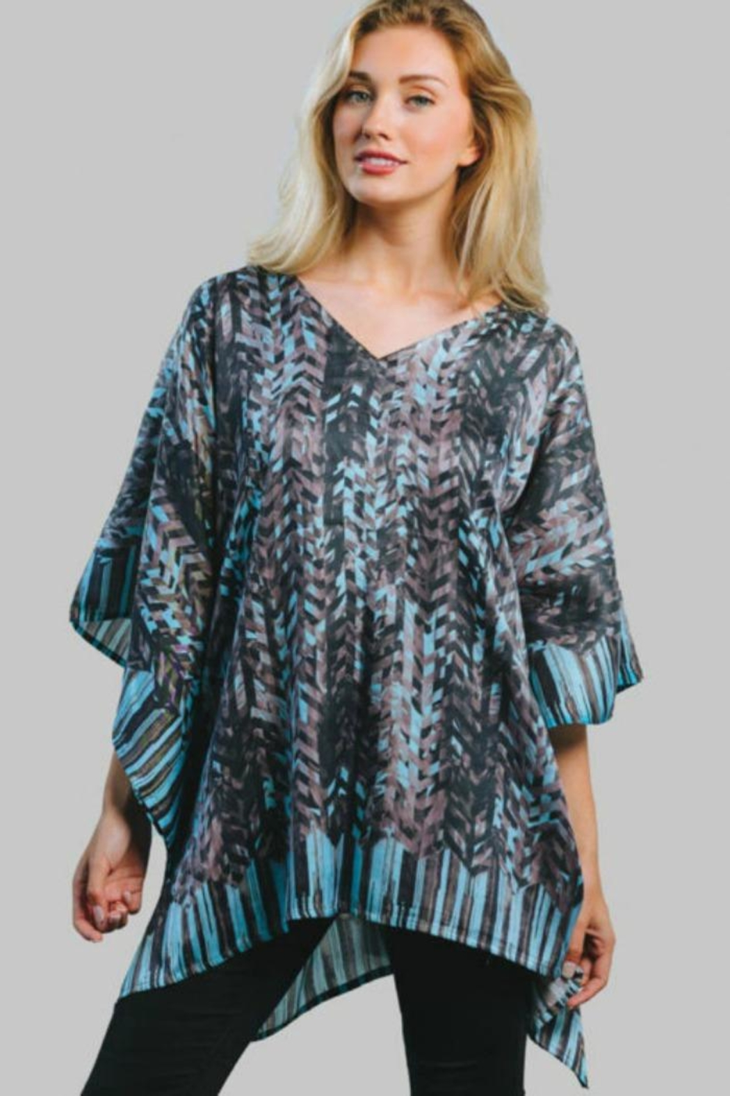 Sevya Abstract Satin Tunic - Main Image