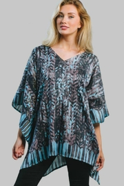 Sevya Abstract Satin Tunic - Front cropped