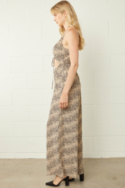 entro  Animal Print Cut Out Waist Wide Leg Jumpsuit - Front full body
