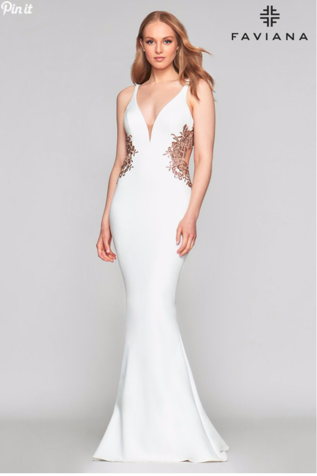 Faviana Sexy Beaded Gown - Front Cropped Image