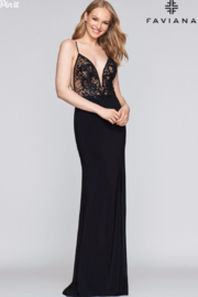 Faviana Sexy Black Gown - Front cropped
