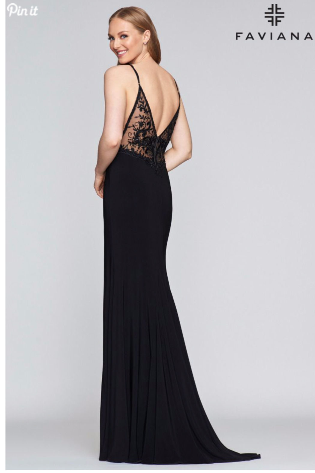 Faviana Sexy Black Gown - Front Full Image
