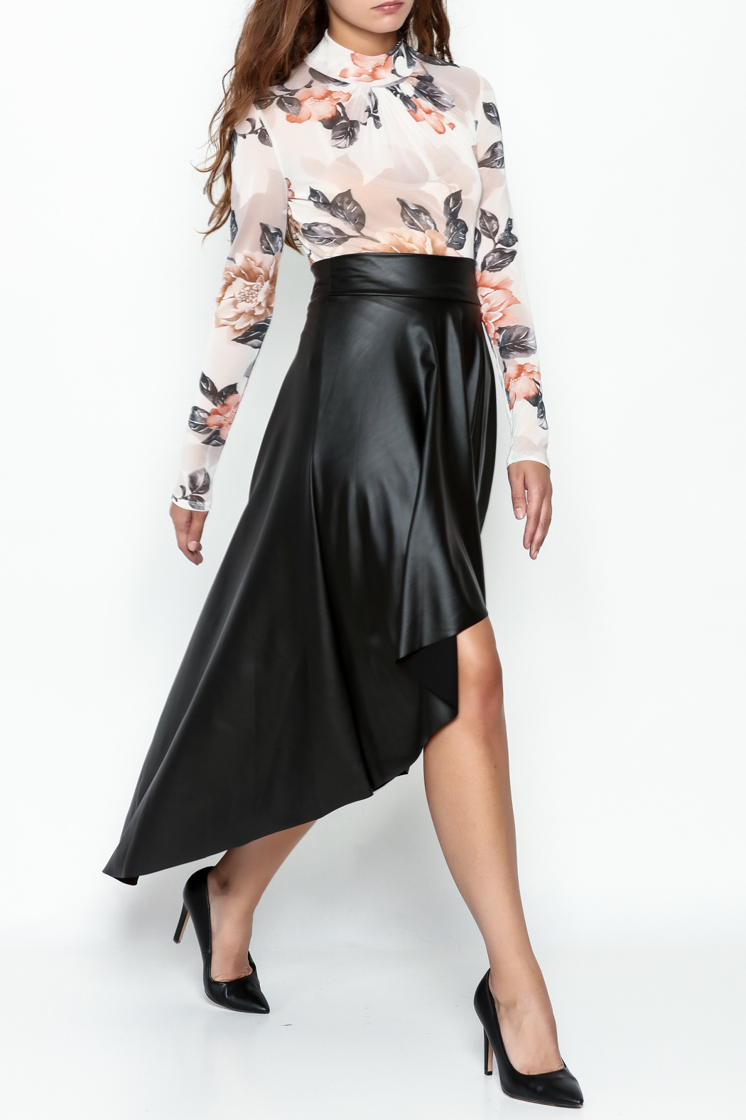 Sexy Diva  Black High Low Skirt - Side Cropped Image