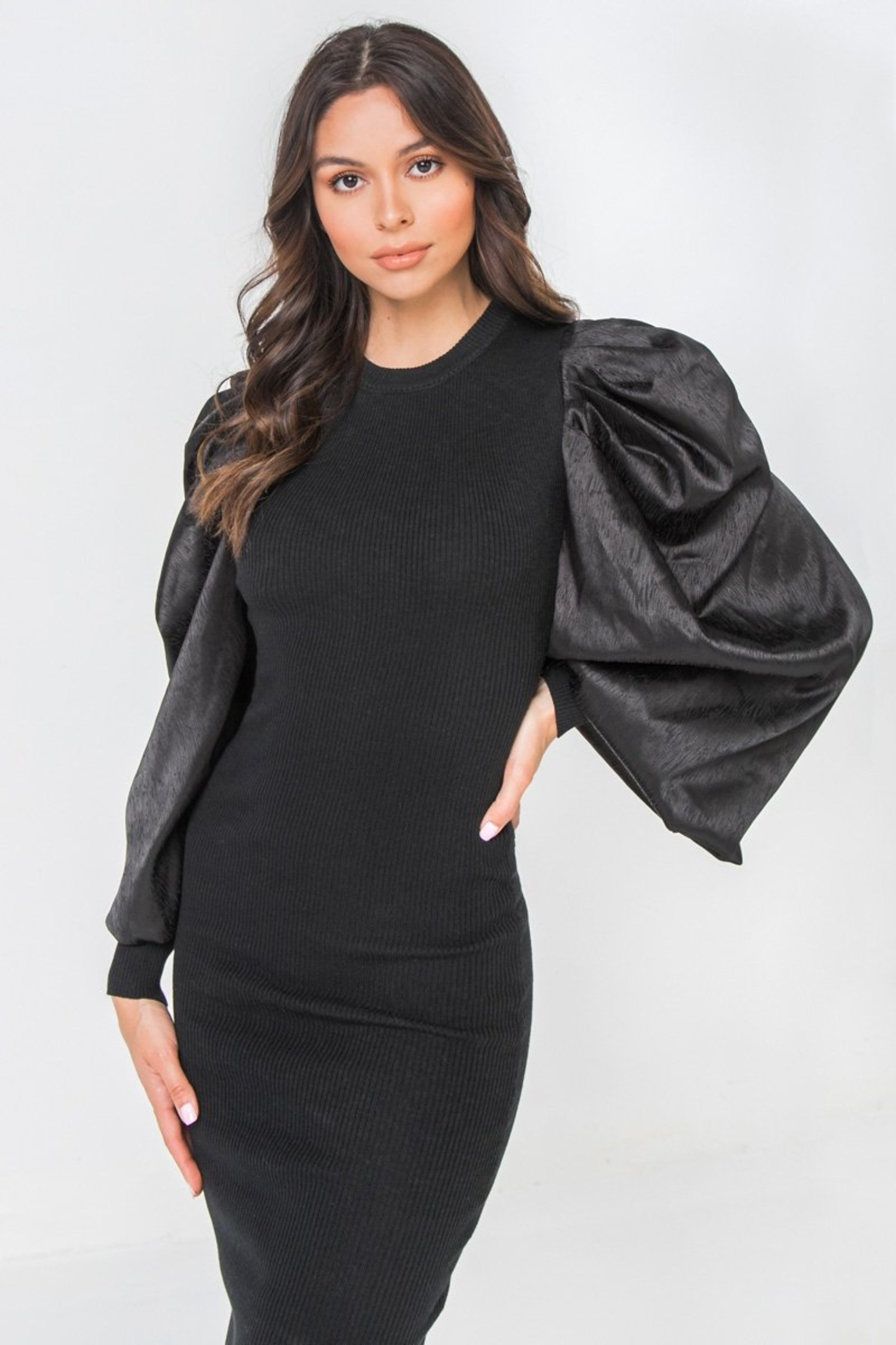 Flying Tomato Sexy Exaggerated Sleeve - Back Cropped Image