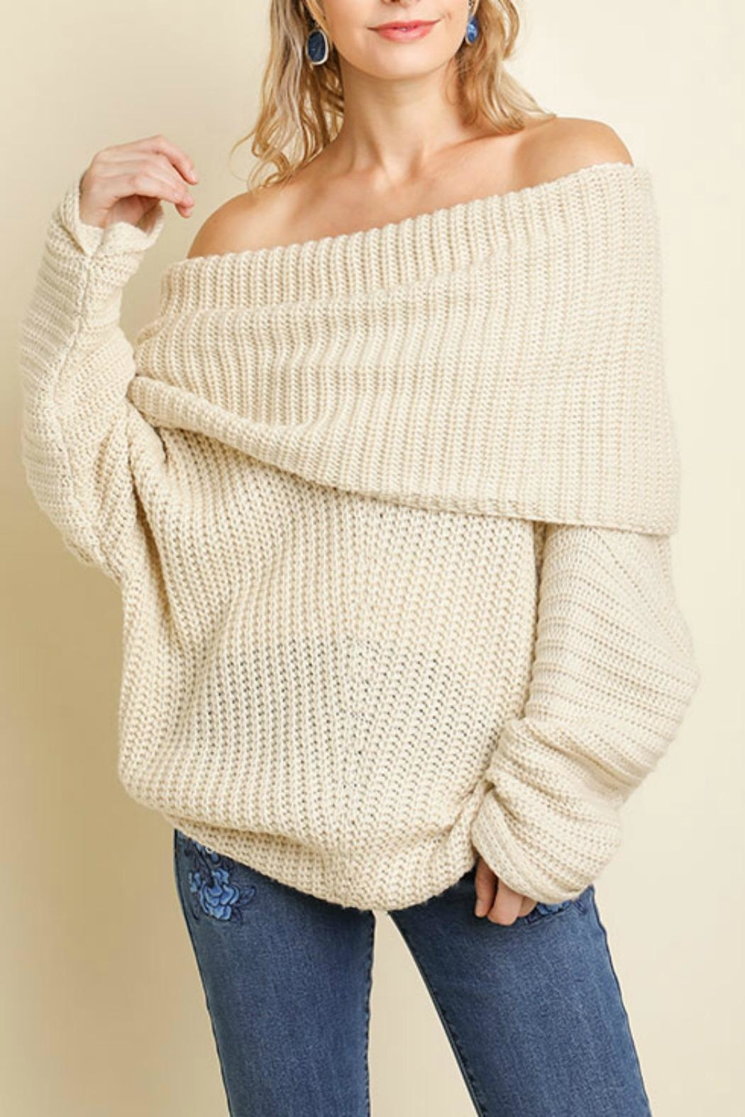 Umgee USA Sexy Ribbed Sweater - Front Cropped Image