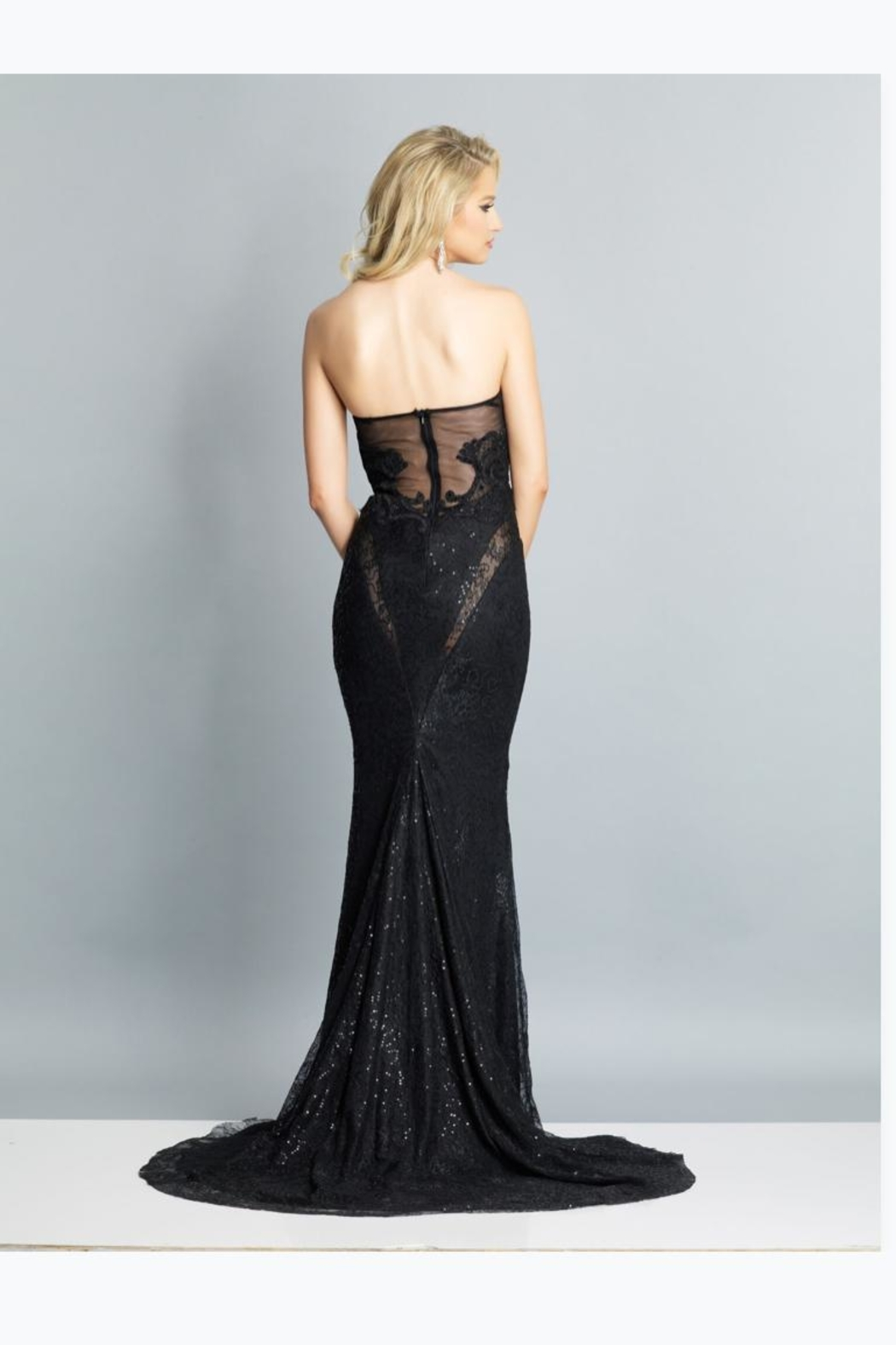 Dave and Johnny Sexy Strapless Gown - Front Full Image