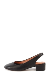 Seychelles Black Leather Flat - Front full body