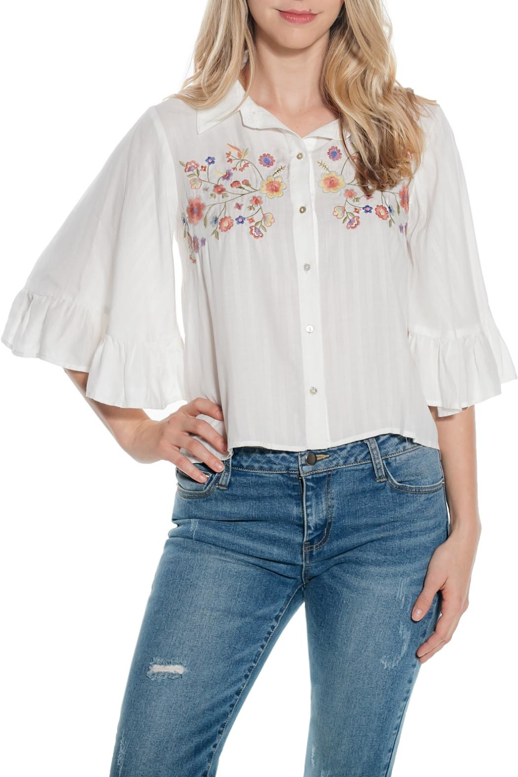 Taylor & Sage Shadow Stripe Blouse - Front Cropped Image