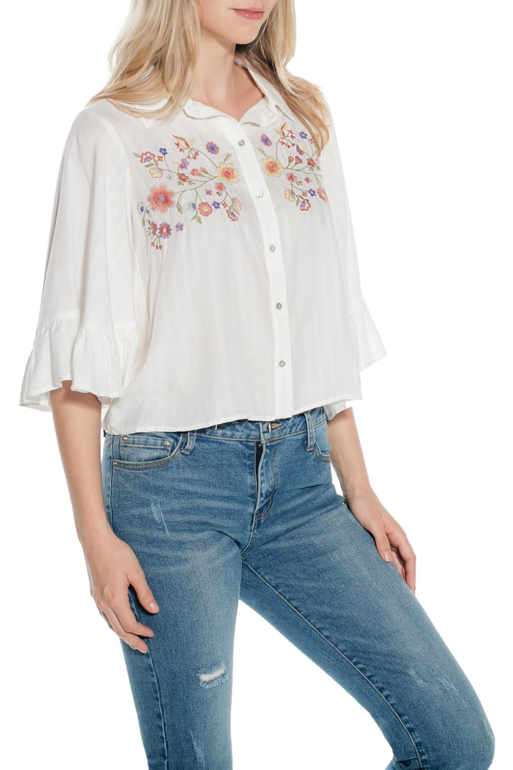 Taylor & Sage Shadow Stripe Blouse - Front Full Image
