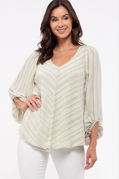 blu Pepper  Shadow Striped Balloon Sleeve Top - Product List Image