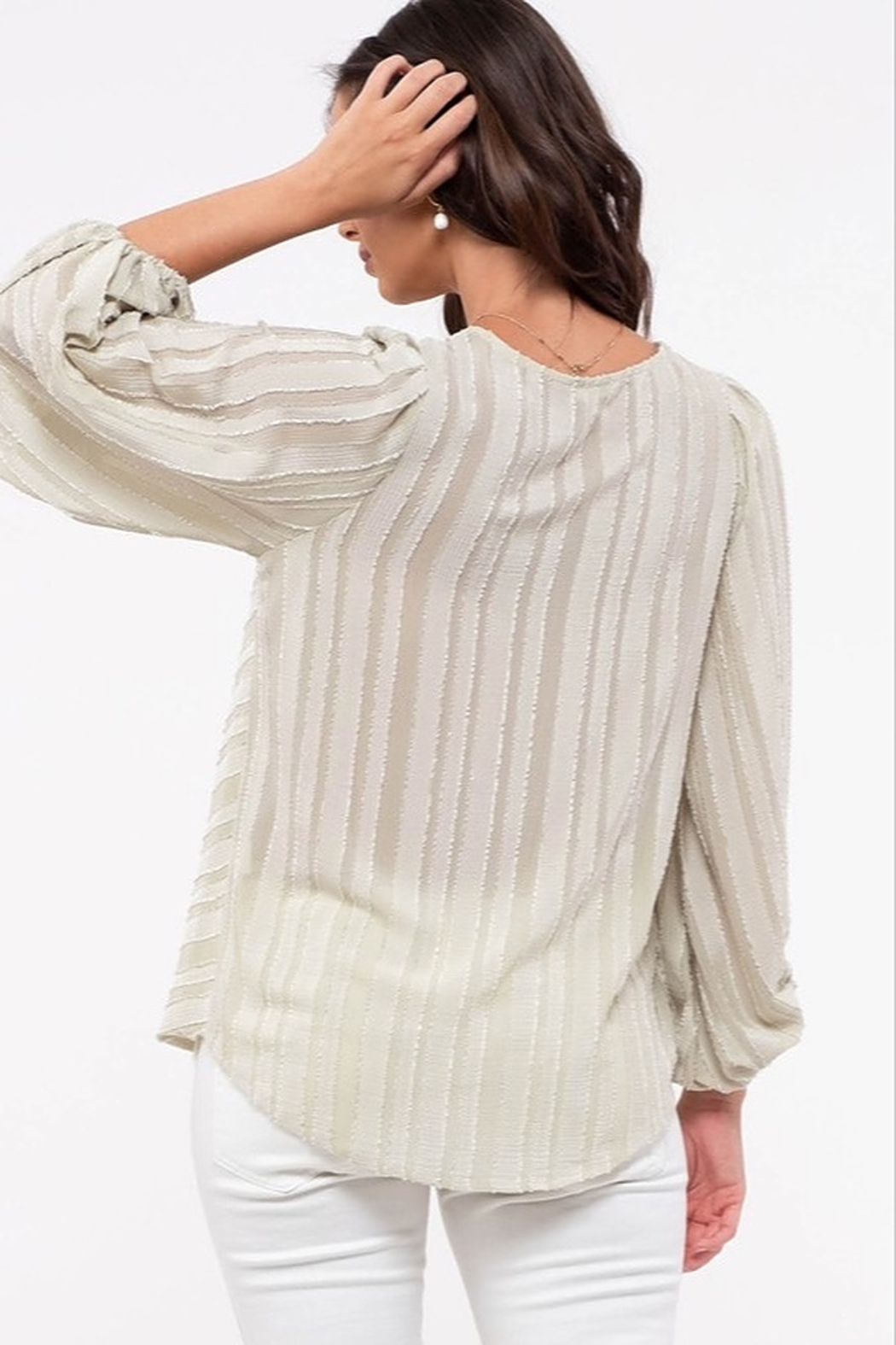 blu Pepper  Shadow Striped Balloon Sleeve Top - Front Full Image