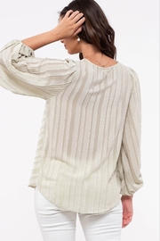 blu Pepper  Shadow Striped Balloon Sleeve Top - Front full body