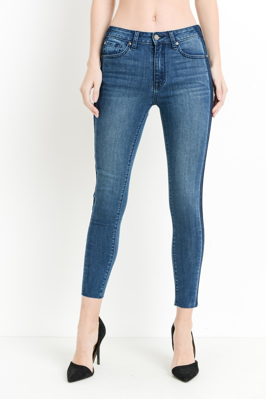 just black Shadow Striped Skinnies - Front Full Image