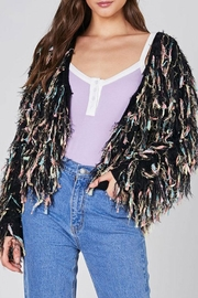 blue blush Shaggy Knit Jacket - Front cropped