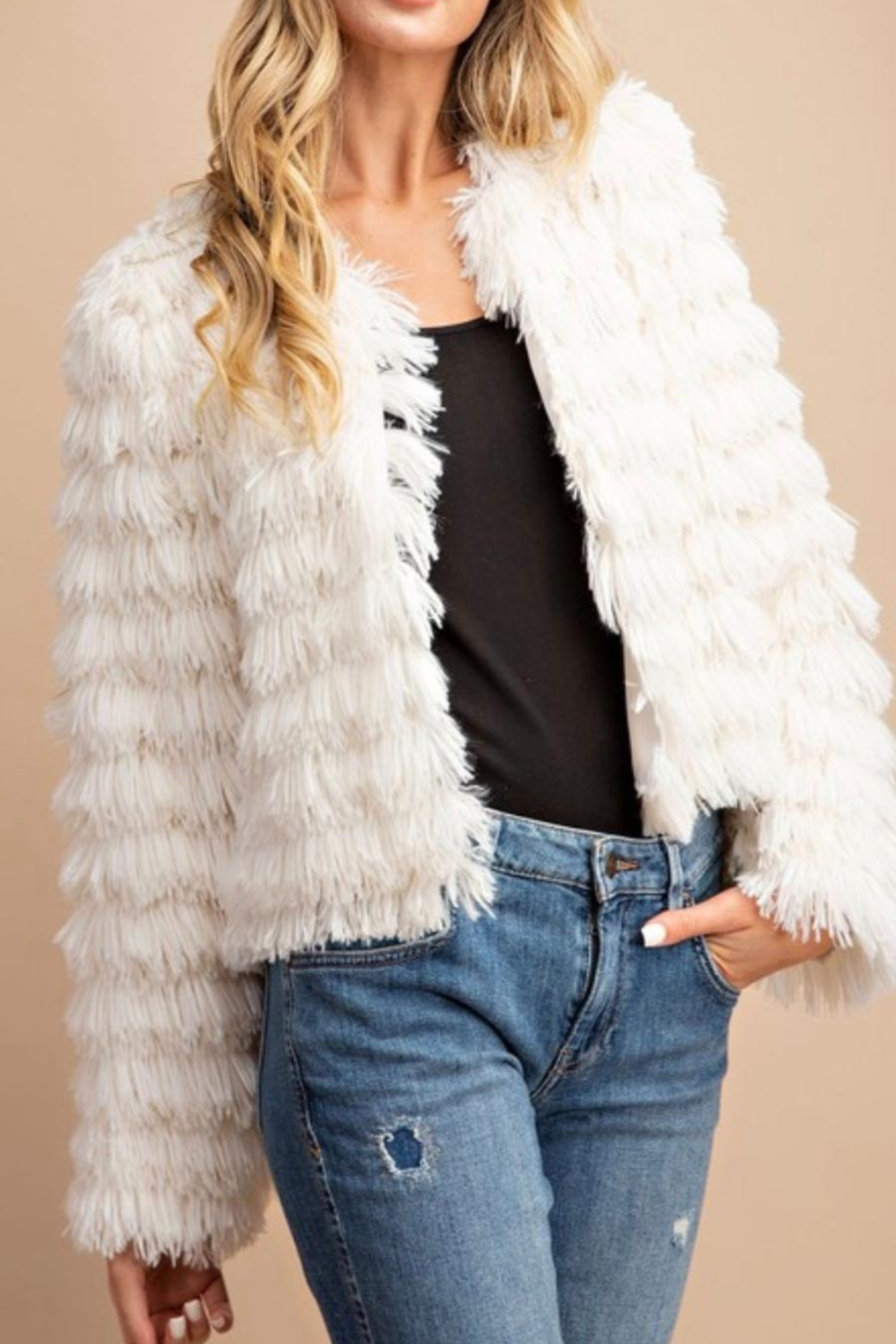 ee:some SHAGGY LAYERED FAUX FUR JACKET - Main Image