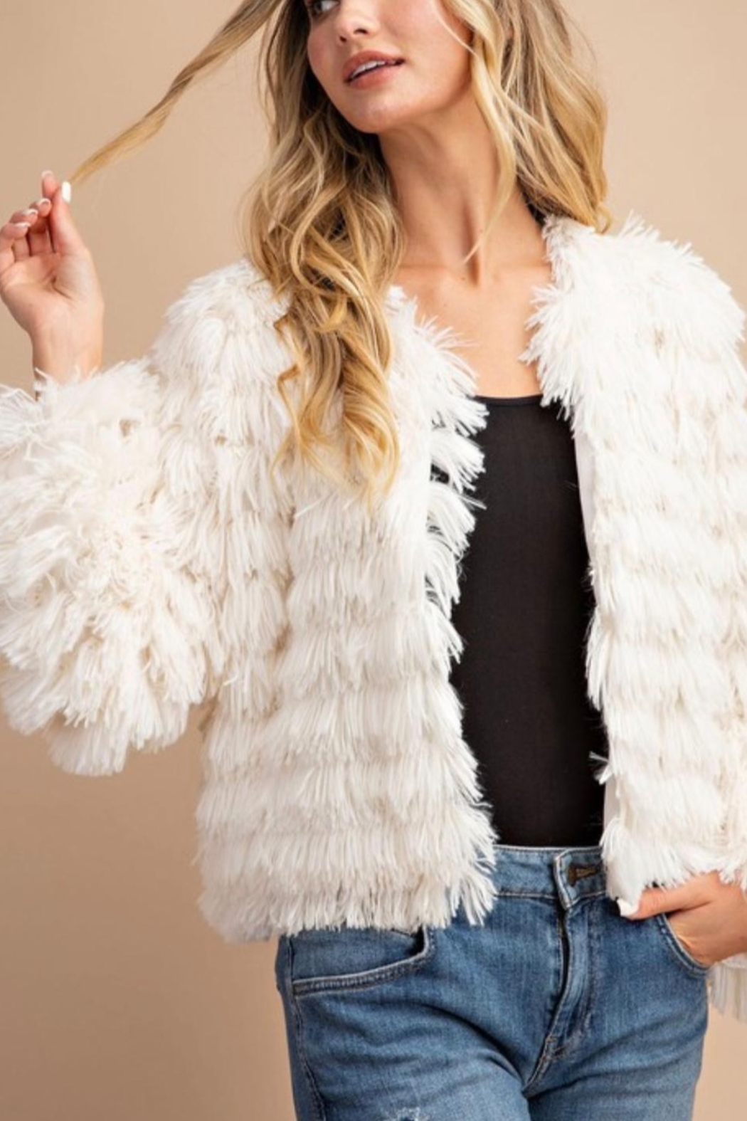 ee:some SHAGGY LAYERED FAUX FUR JACKET - Front Full Image