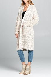 hummingbird Shaggy Open Cardigan - Front full body