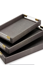 Tozai Home Shagreen Rectangular Set of Three Trays - Product Mini Image