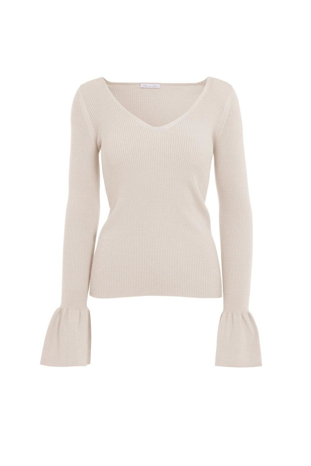 Minnie Rose Shaker Sleeve Sweater - Front Cropped Image