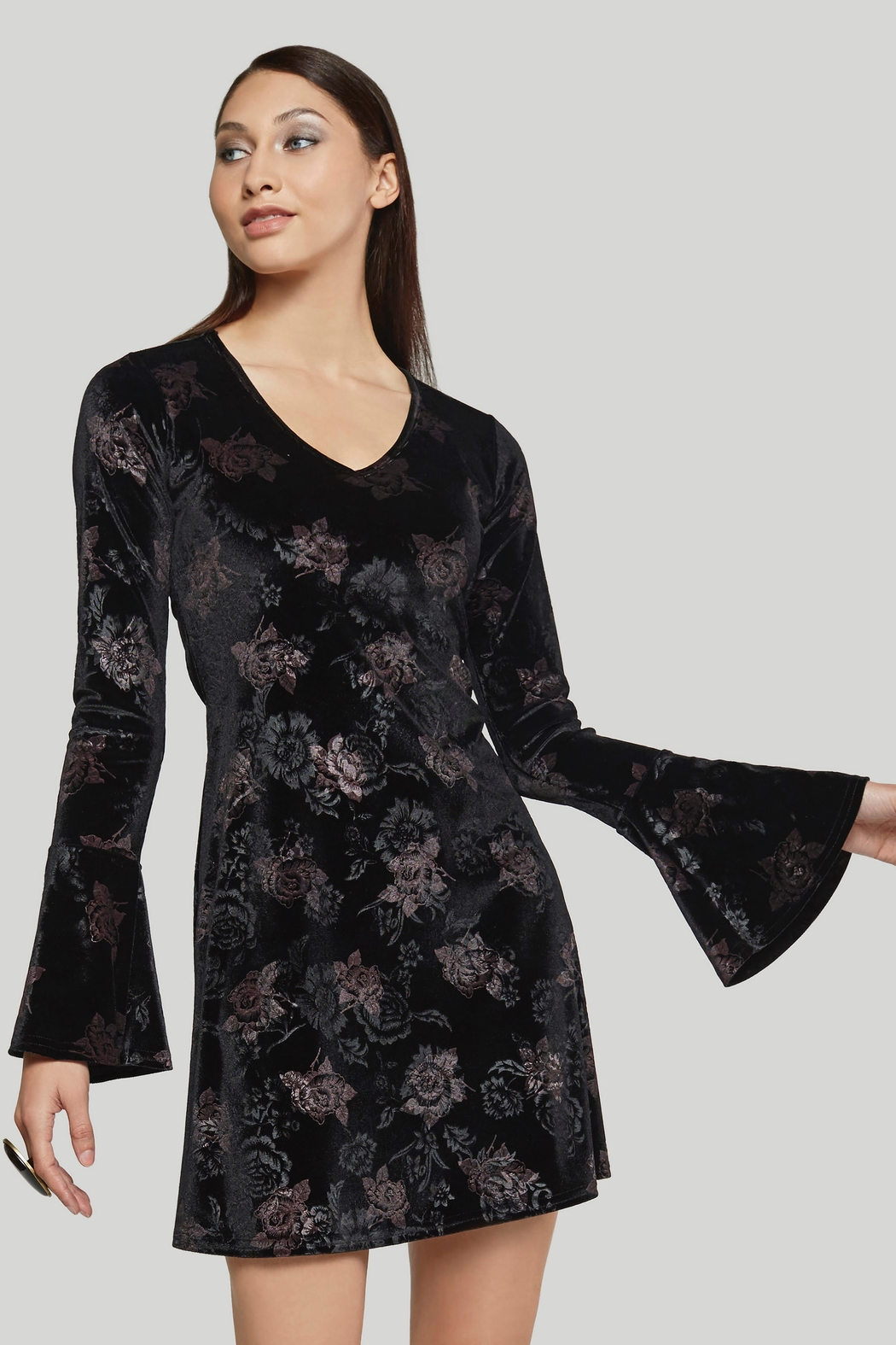 Viereck Shalyce Velvet Floral V Neck Dress - Main Image