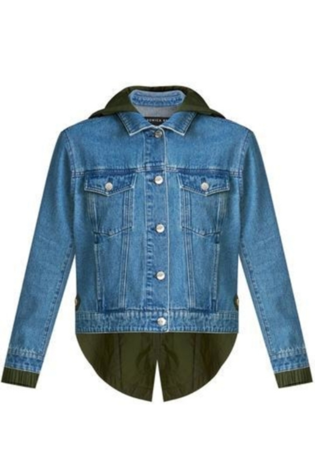 Veronica Beard Shani Mixed Media Denim Jacket - Back Cropped Image