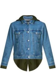 Veronica Beard Shani Mixed Media Denim Jacket - Back cropped