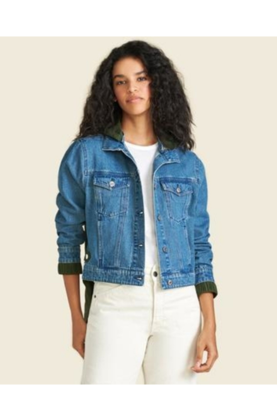 Veronica Beard Shani Mixed Media Denim Jacket - Main Image