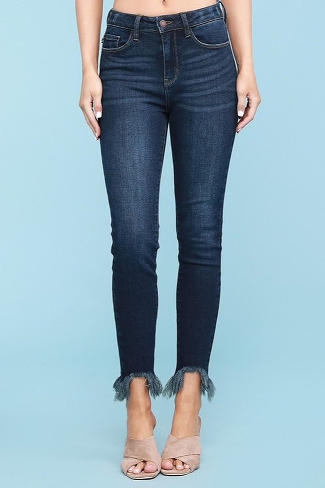 Judy Blue Shark Bite Skinny Jeans - Plus Size - Front Full Image