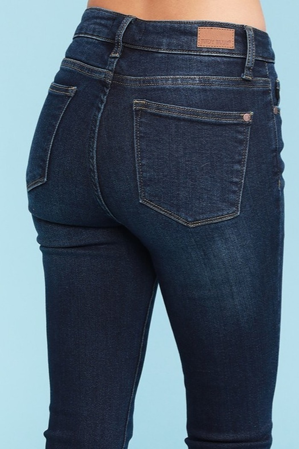 Judy Blue Shark Bite Skinny Jeans - Plus Size - Side Cropped Image