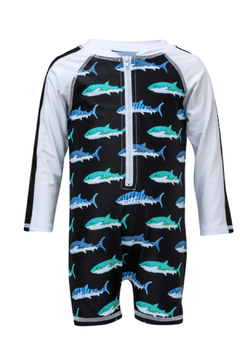 Snapper Rock Shark Long Sleeve Sunsuit - Alternate List Image