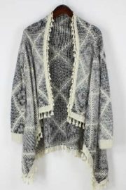 Bedford Basket Sharkbite Diamond Cardigan - Back cropped