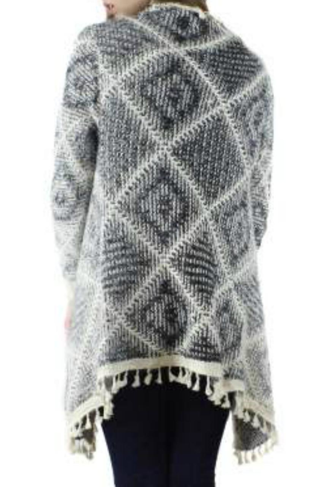 Bedford Basket Sharkbite Diamond Cardigan - Side Cropped Image