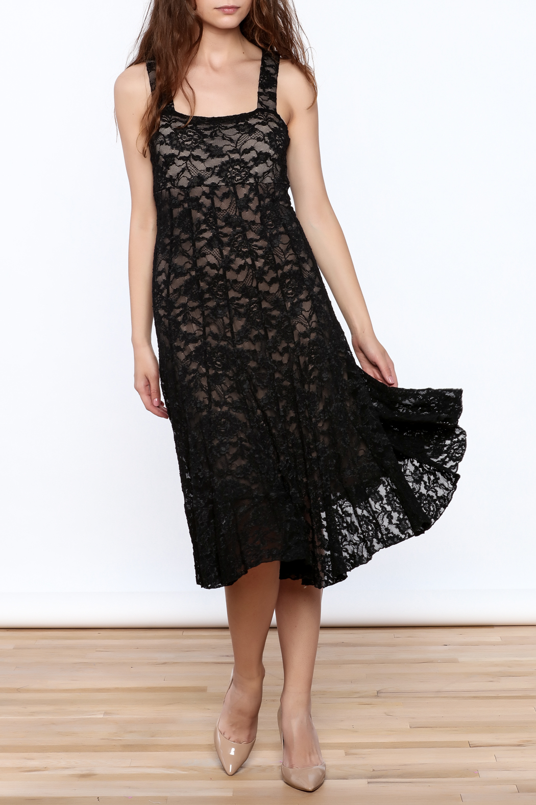Sharon Max Black Lace Midi Dress - Front Full Image