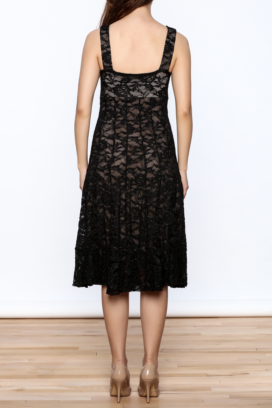Sharon Max Black Lace Midi Dress - Back Cropped Image