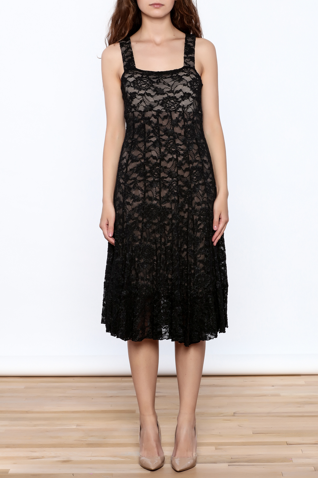Sharon Max Black Lace Midi Dress - Front Cropped Image