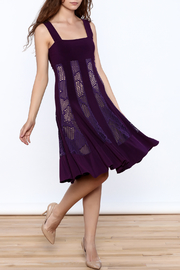 Sharon Max Purple Sleeveless Swing Dress - Front full body