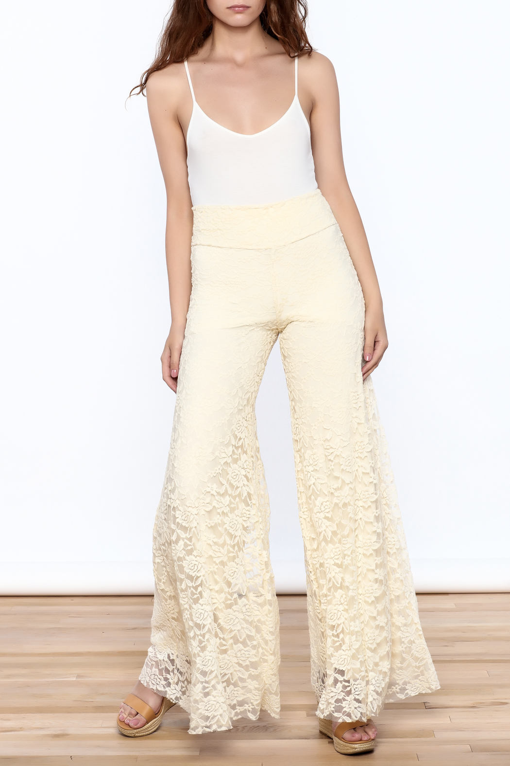 Sharon Max ivory Lace Palazzo Pants - Front Full Image