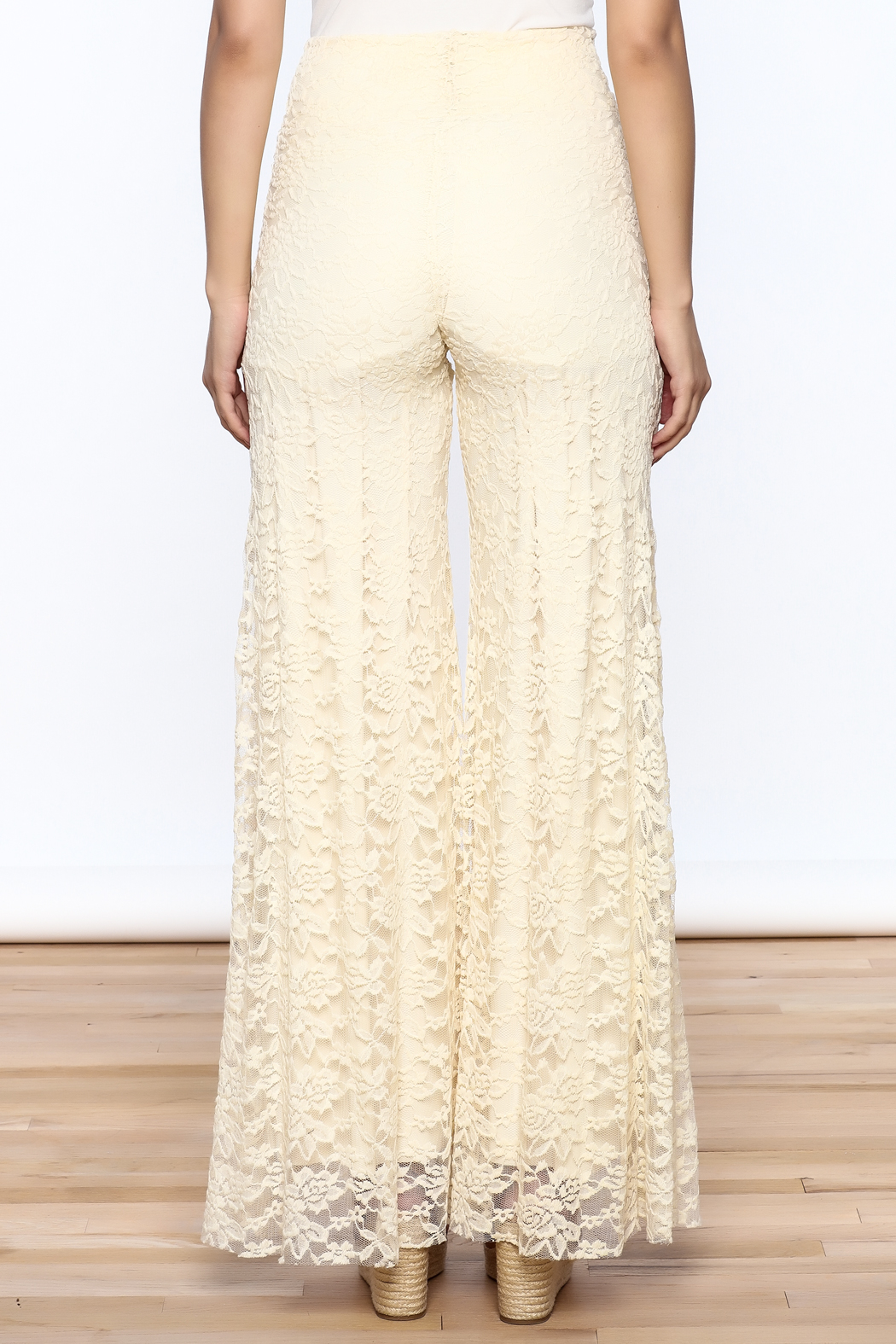 Sharon Max ivory Lace Palazzo Pants - Back Cropped Image