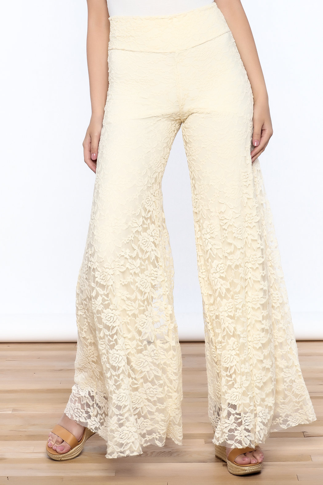 Sharon Max ivory Lace Palazzo Pants - Front Cropped Image