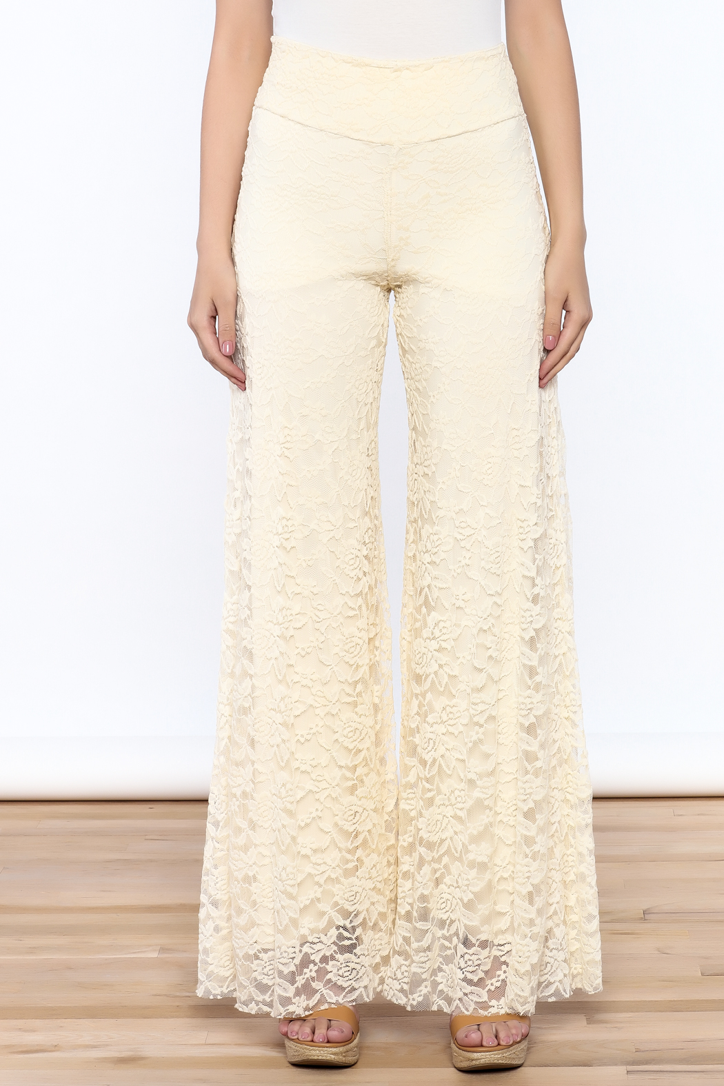 Sharon Max ivory Lace Palazzo Pants - Side Cropped Image